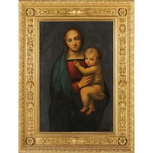 Luigi Bardi (c.1800-c.1880) Vierge à l'Enfant d'après Raphaël