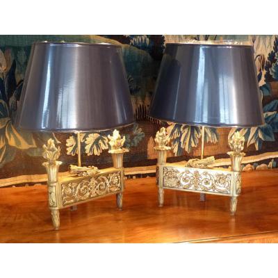 Pair Of Golden Bronze Lamps