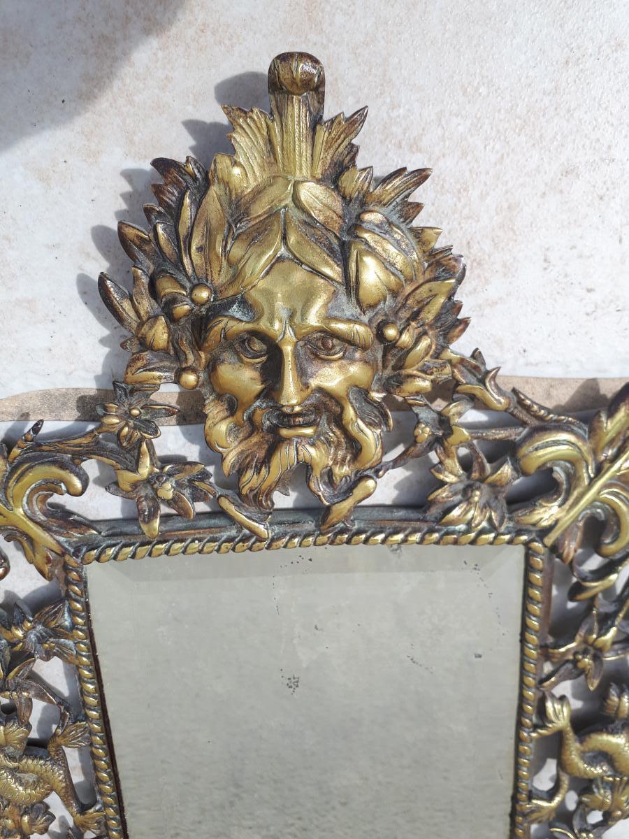 Petit Miroir 18 Eme à Représentation De Poséidon Dieu De La Mer-photo-2