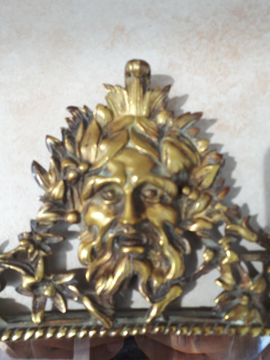 Petit Miroir 18 Eme à Représentation De Poséidon Dieu De La Mer-photo-4