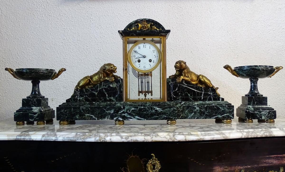 Garniture De Cheminée Art Déco En Marbre Et Bronze Doré ...