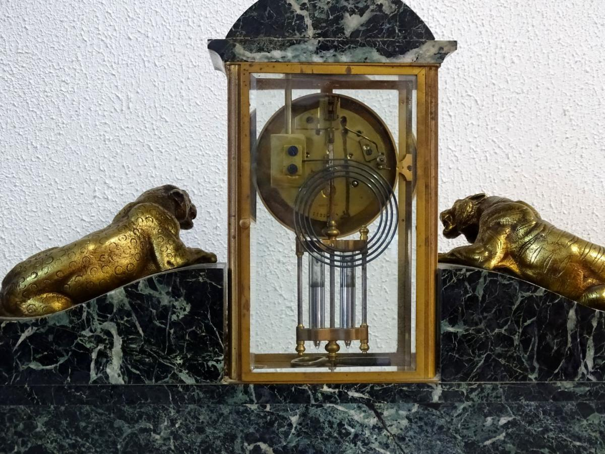 Topping from fireplace art deco marble and gilt bronze for Proantic art deco