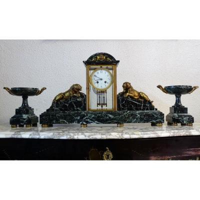 Garniture De Cheminée Art Déco En Marbre Et Bronze Doré