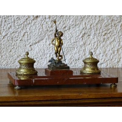 Encrier En Bronze Et Marbre Signé Moreau