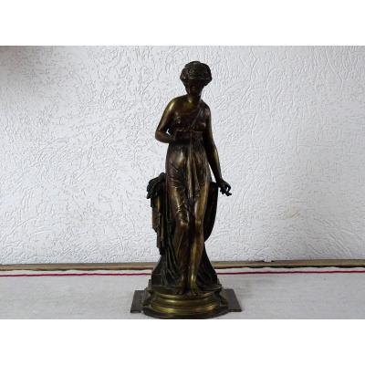 """Bronze Signé Paul Duboy """"jeune Femme Drapée à l'Antique"""""""