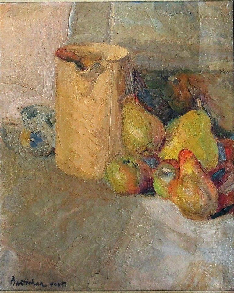 Still Life, Carafe And Fruit