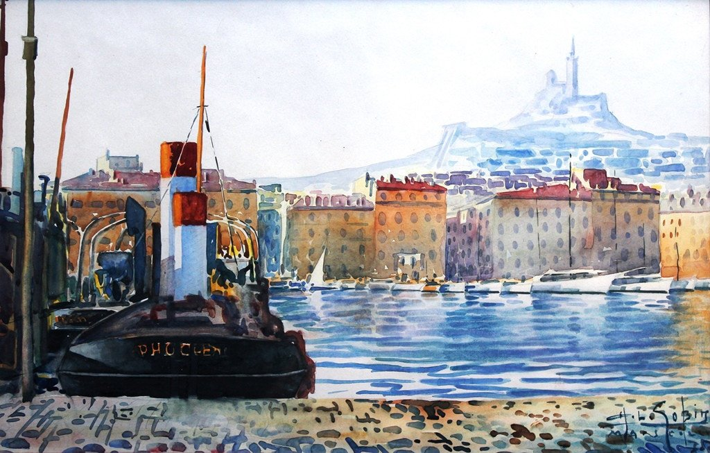 Old Port, Marseille, Watercolor