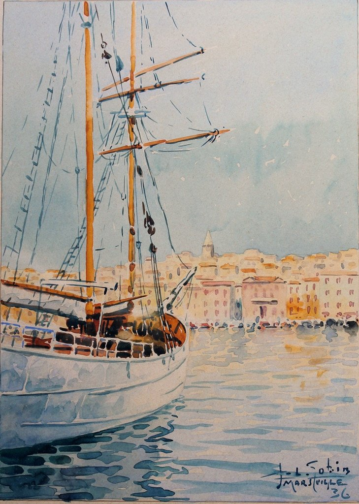 Vieux Port De Marseille, Aquarelle