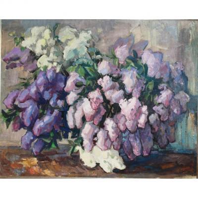 """Ernst Hallop (1908-1980) """"Bouquet de lilas"""""""