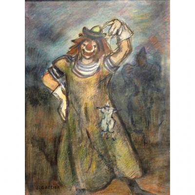 """""""clown à La Marionnette"""" Léo Gassier (1888-?)"""
