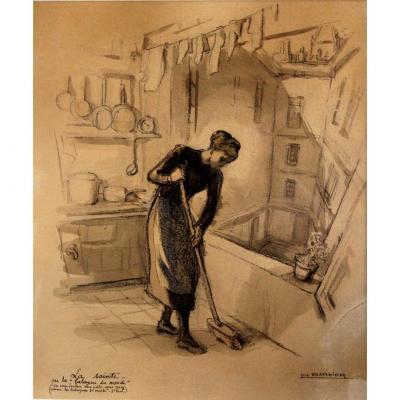 """la Sainte"" Luc BARBIER (1903-1989) Dessin Aquarellé"