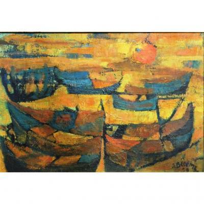 Barques Au Soleil Couchant, J. BLOËME, daté 1959