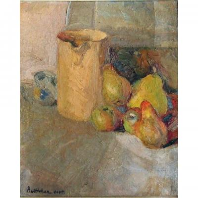 Still Life, Carafe And Fruit
