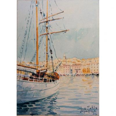 Old Port Of Marseille, Watercolor