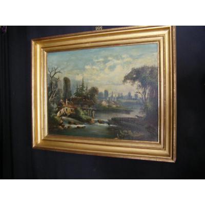 Tableau Epoque Louis Philippe Paysage