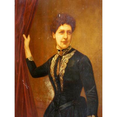 Huile Sur Panneau la femme au rideau 19eme
