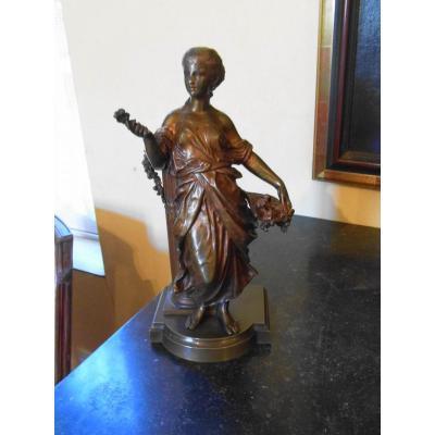 Bronze Femme A La Colonne 19eme