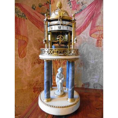 Pendule Louis XVI A Cercles Tournants Dite Temple Aux Amours d'époque 18 ème