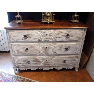Dresser In Walnut Limed Vintage 18th