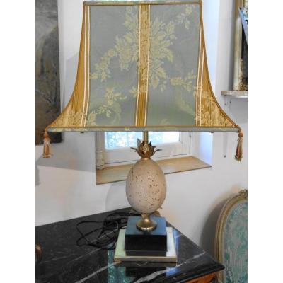 Lampe Oeuf d'Autruche En Pierre 20ème style maison Charles