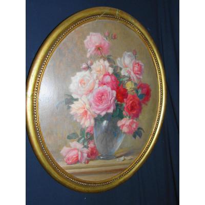Paire De Tableaux De Fleurs Par Daniel Tixier(1862-1915)