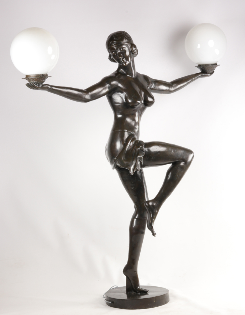 Lampe En Bronze De Style Art Deco.-photo-2