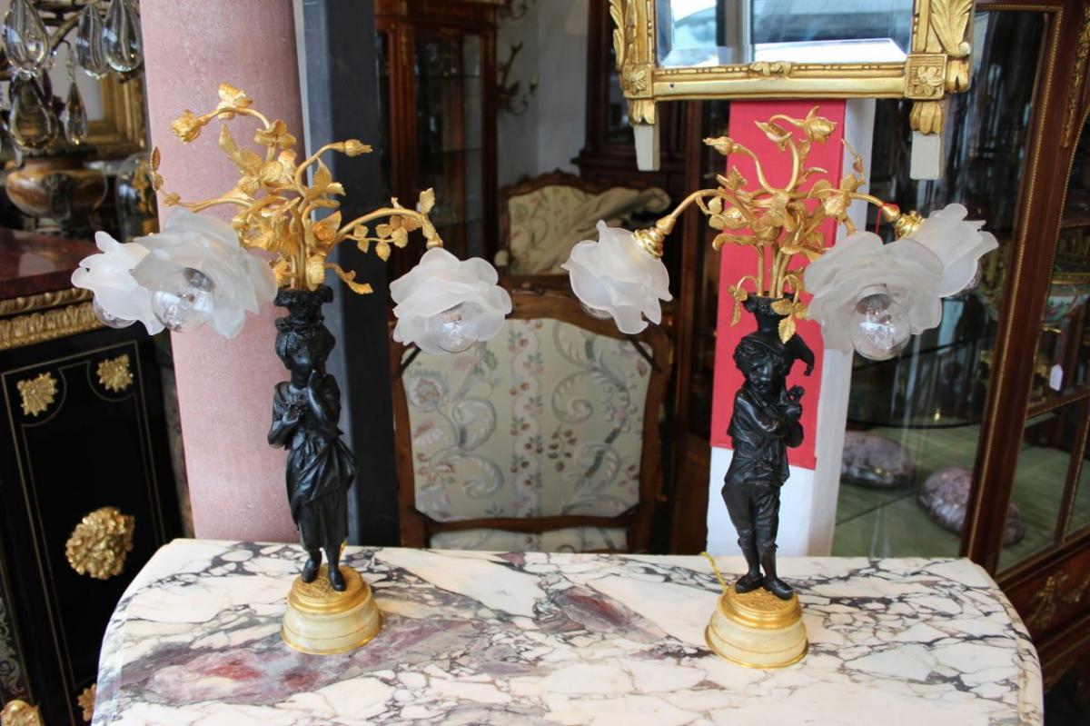 Paire De Lampes En Bronzes, époque XIX.