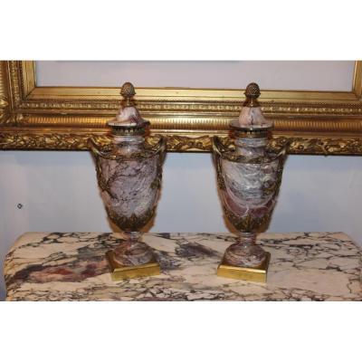 Paire De Cassolettes En Marbre Avec Monture Bronze, époque XIX.
