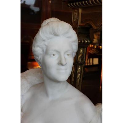 Zetlin A : Buste De Femme En Marbre, époque XIX.