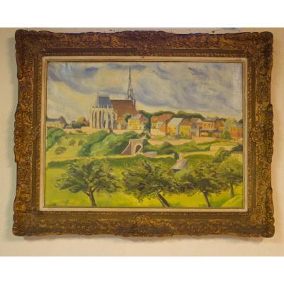 """tableau """"vue de village"""" avec cadre sculpté."""