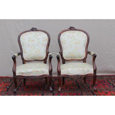 Pair Of Armchairs In Rosewood, XIX.