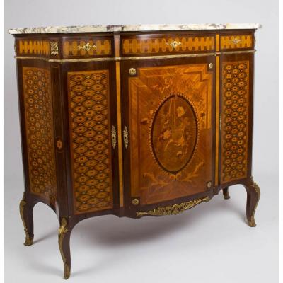 Buffet Support Height In Marquetry And Gilt Bronze Marble Top, XIX.