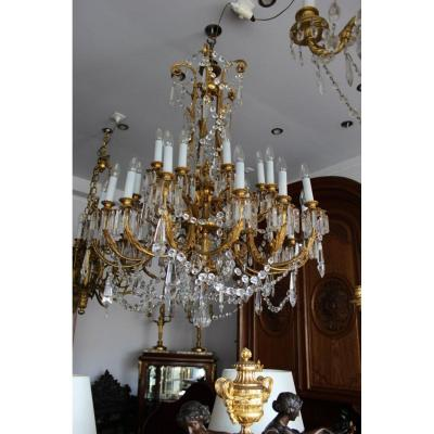 Large Chandelier Gilt Bronze And Crystal, XIX.