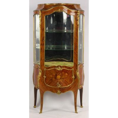 Vitrine En Marqueterie Et Bronze Doré De Style Louis XV, d'époque XIX.