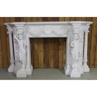 Important White Marble Fireplace