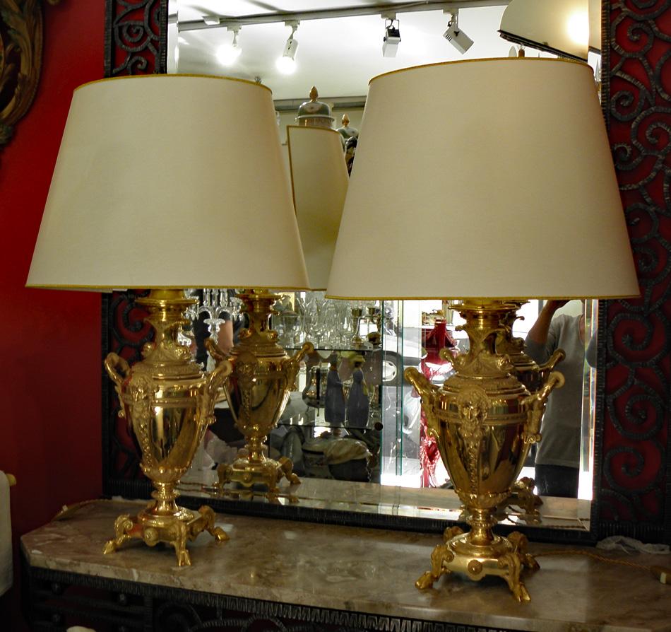 paire de lampes p dor napol on lampes. Black Bedroom Furniture Sets. Home Design Ideas