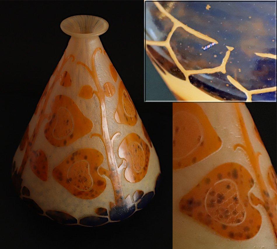 Le Verre Français.rare Vase Conique.modèle Figues.signé Au Berlingot.vers 1918/1922.h 21,50cm