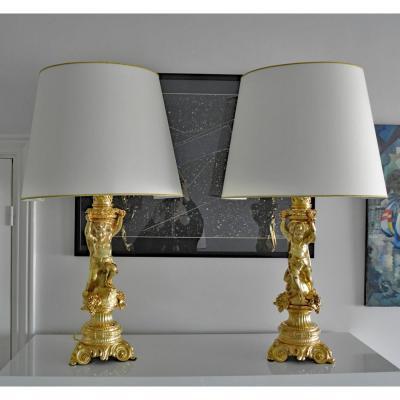 Pair Lampes.napoléon III.chérubins.putti.les Vendanges.bronze Doré.