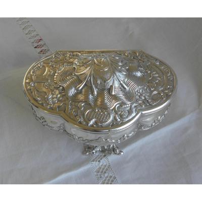 Trilobée Box.napoléon III.argent Oyster Shell.style Rocaille.vers 1860.l14,50cm.pds 364g