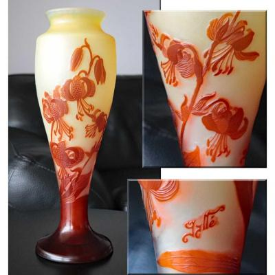 Gallé.grand Vase Aux Lys Martagon.forme Balustre.fleurs épanouies & Boutons.h 40cm