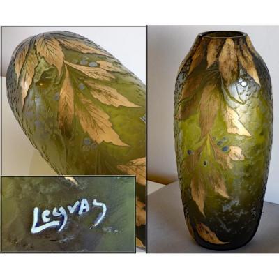 Legras.grand Vase.eucalyptus.feuilles Dorées Baies Bleues.fond Teinté Noir.h 40cm