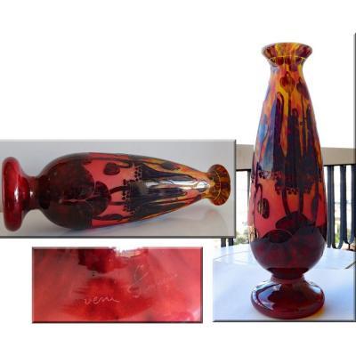 Le Verre Français.très Grand Vase.modèle Campanules.vers 1925/1930.h 55,50cm
