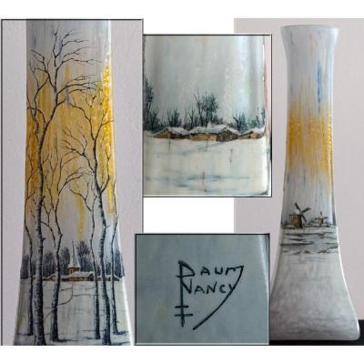 Daum Nancy. Grand Vase.paysage Enneigé.décor émaillé.bouleaux Moulins Lac Gelé.vers 1900.h 35cm