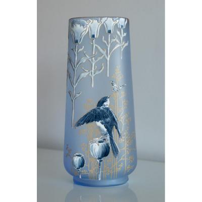 Art-nouveau.legras.vangulaire Rectangulaire.fond Bleu.hirondelle.chardons.papillon.gelée d'Automne.