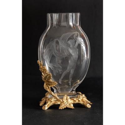 Baccarat Ds Le Goût.petit Vase En Aplat.décor Intaille Naked Dancer.bronze Wild Blackberries.h16cm