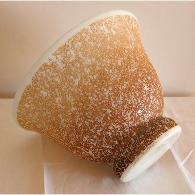 Art-déco.daum Nancy.rare Crater Vase.series Opaline Vases Etched Patina.caramel Patina.h 19cm