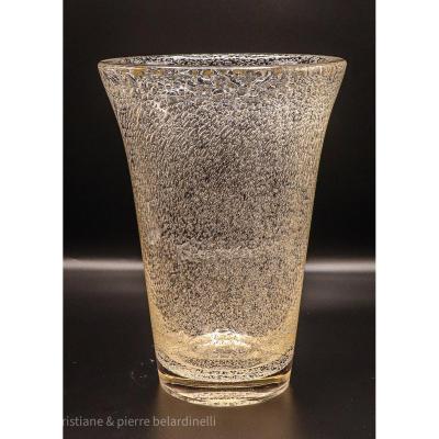 Art-déco.daum Nancy.grand Vase.série Cristal Bullé & Teinté.teinte Ambre.h 35cm
