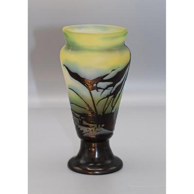 Gallé.petit Vase.décor Aux Plantes Des Marais.sagittaires,roseaux, Prêles.h 14,00cm.