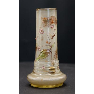 Gallé Cristallerie.petit Vase.sagittaires.tiges Florales.nenuphar In Button.h 12cm