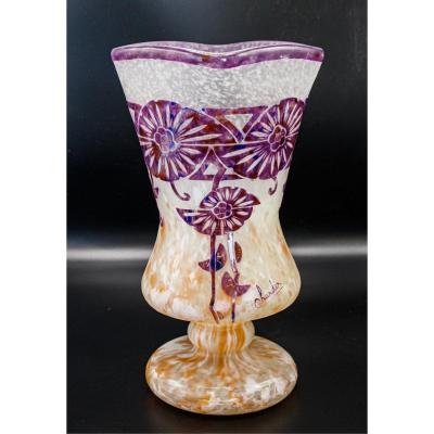 Charder.le Verre Français.rare Vase.modèle Ancolies.art-déco.h 29,00cm